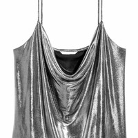 Draped top - Silver-coloured/Coated - Ladies | H&M GB