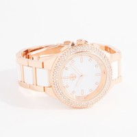 Two-Tone Pave Bezel Link Watch | Watches | rue21