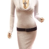 Amazon.com: Patty Women Sexy Drape Cowl Neck Long Sleeve Party Knit Dress (Grey Large): Clothing