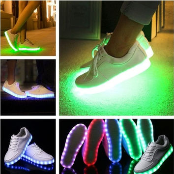 7 Colors luminous shoes unisex led glow shoe men & women fashion USB rechargeable light led shoes for adults led sneaker [8096622151]
