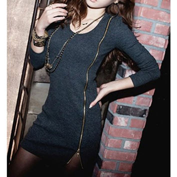Deep Gray Long Sleeve Zippered Dress