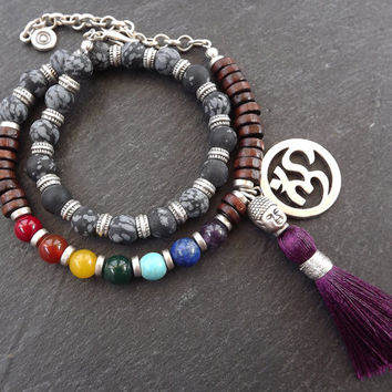 Matte Black Purple Double Wrap Beaded Chakra Yoga Bracelet - Buddha Tassel Gypsy Jewelry Hippie Bohemian Artisan