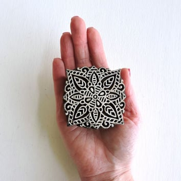 Flower Stamp, Hand Carved Wood Block Stamp Square Wooden Printing Block from India, Clay Stamp, Handmade Henna Tattoo Mehndi Design