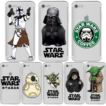 Star Wars R2D2 BB8 Stormtrooper Coffee Darth Vader Phone Case for iphone X 5S 6 7 8 6S PLUS 10 5 SE Silicone Soft Capinha Cover