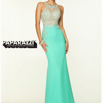 High Neck With Open Back Paparazzi Prom Dress By Mori Lee 97046