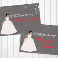 Will you be my bridesmaid / maid of honor ? PRINTABLE cards with a Disney like princess bride dress illustration INSTANT DOWNLOAD