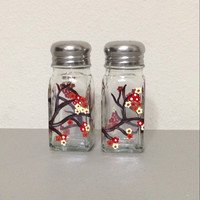 Salt and Pepper Shaker Set with Hand Painted Japanese Cherry Blossom