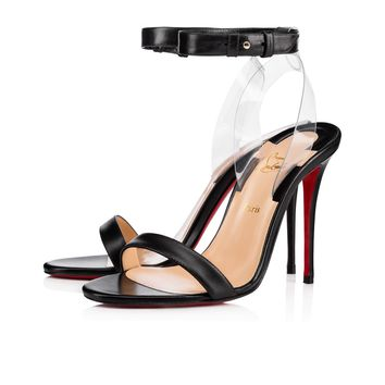 Christian Louboutin Cl Jonatina Black/transp Leather 17s Sandals 11711093230 - Best Online Sale