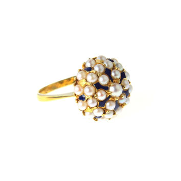 18k Gold Pearl Basket Ring Seed Pearls Enamel Accents Italy