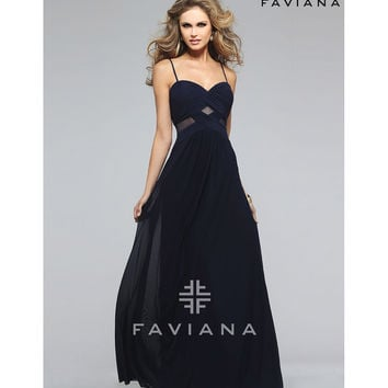 Faviana 7742 Navy Blue Spaghetti Strap Sweetheart Long Dress 2016 Prom Dresses