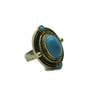 Faux Turquoise Boho Ring, Vintage Goldtone Costume Jewelry Fun Gift Ring, Adjustable Ring