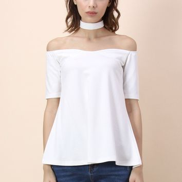 Off-shoulder Choker Top in White