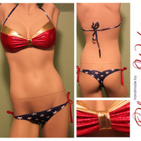 Sexy wonder woman bikini low rise padded push up by oksanaweber