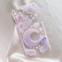Fairy Kei Moon Case, Resin iPhone 6 Case, Kawaii Crescent Moon Clear Case, Purple Moon Crescent Case