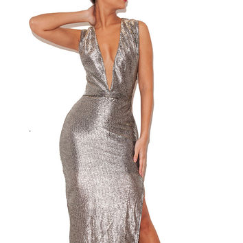 Clothing : Max Dresses : 'Tahina' Silver Gauze Deep V Maxi Dress