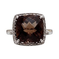 Sterling Silver Smoky Quartz & Diamond Accent Ring (Brown)