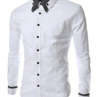 (ST29) TheLees Mens long double collar cuff slim dress shirts