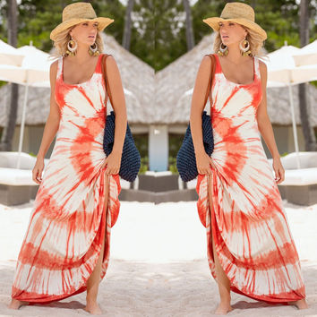 Fashion Multicolor Print Round Neck Sleeveless Maxi Dress
