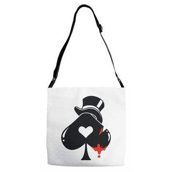 poker hat ace of spades Adjustable Strap Totes
