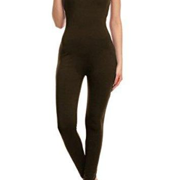Leggings Depot Premium Quality Cotton Spandex Jersey tank Unitard Jumpsuit Romper Gym (SMALL, BROWN)