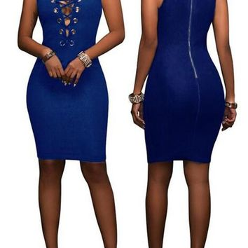 Streetstyle  Casual Dark Blue Plain Hollow-out Zipper Round Neck Sleeveless Bodycon Denim Mini Dress