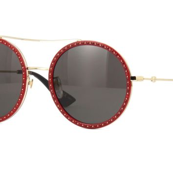 Gucci GG0061S 018 Limited Edition Sunglasses Red Frame Dark Grey Lenses 56mm