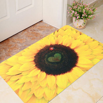 40x60cm 3D Sunflower Pattern Bathroom Mat Soft Non-slip Floor Carpet Kitchen Door Rugs