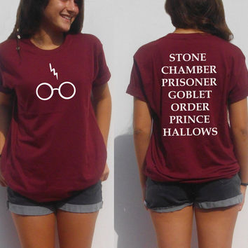 Harry potter shirt glasses lightning bolt Scar and book movie titles fan girl tee shirt pot head geek nerdy tshirt