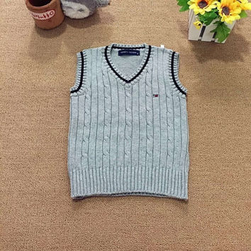 Hot sale Spring autumn 100% cotton baby cardigan boy's V-neck sweater vest kids waistcoat girls boys sweaters for 2-6T