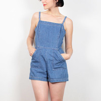 Vintage 90s Romper Blue Jean Jumper Soft Grunge Shorts Overalls Playsuit 1990s Romper Denim Overall Shortalls Dungarees S Small M Medium