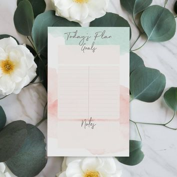 Daily Desk Planner Pad - Watercolor Daily Agenda Pad - Back To School - College School Supplies - Daily Notepad Calendar - Planner Deskpad