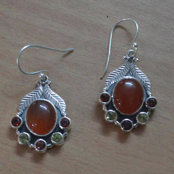 Sterling silver earrings,925 silver with peridot and oval shaped carnelian Earrings,Red Garnet Stud Earring,Silver Stone Earring,stamped 925