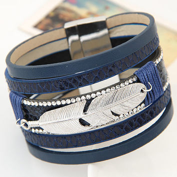 New Fashion Alloy Feather Leaves Wide Magnetic Leather bracelets & bangles for Women Men Handmade friendship jewelry gift items
