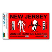 New Jersey NJ Zombie Hunting License Permit Red - Biohazard Response Team MAG-NEATO'S TM Car-Refrigerator Magnet