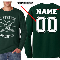 Custom Back name and number, Slytherin Quidditch team Captain on Longsleeve MEN tee