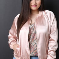 Smooth Satin Bomber Jacket