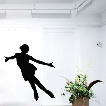 Wall Decals Girl Figure Skater Ice Skating Sport People Home Vinyl Decal Sticker Kids Nursery Baby Room Decor kk516