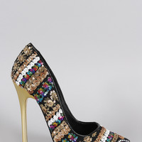 Privileged Metallic Sequin Pointy Toe Stiletto Pump