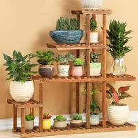 Wood 4 Tier Flower Pot Racks Home Garden Decor