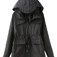 Black Drawstring Zip Sleeve with Cap Accent Hood Trench Coat