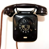 Black Rotary Wall Phone from PTT Holland-   1939