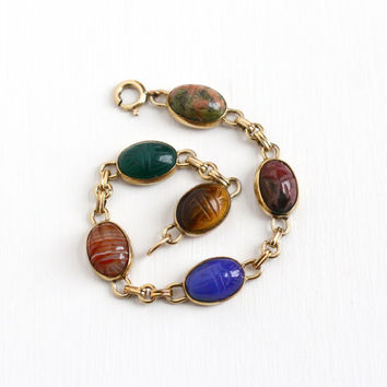 Vintage 14k Yellow Gold Filled Scarab Bracelet - Retro Carved Beetle Bugs Colorful Banded Agate Unakite Egyptian Revival WRE Jewelry