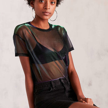 Silence + Noise Iridescent Shimmer Mesh Tee - Urban Outfitters
