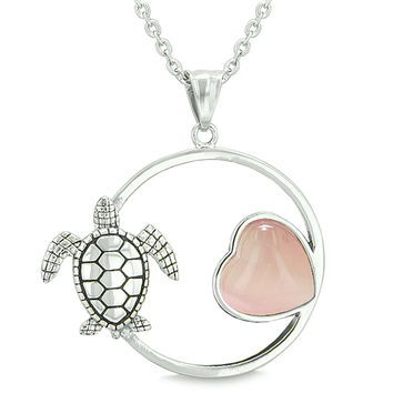 Amulet Cute Sea Turtle Magic Circle Heart Medallion Pink Cats Eye 18 Inch Pendant Necklace
