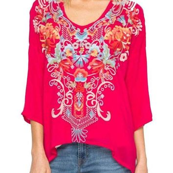 MDIGYW3 Johnny Was Women's Valerie Blouse Pomegranate