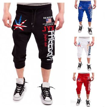 HOT 2018 Outdoor Summer Men's wear maple leaves American flag printing USA Jogging running football training smoke rope pants