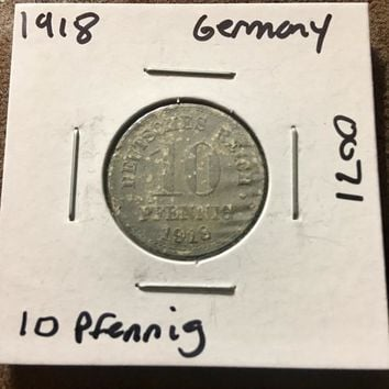1918 German Empire 10 Pfennig Coin 0071
