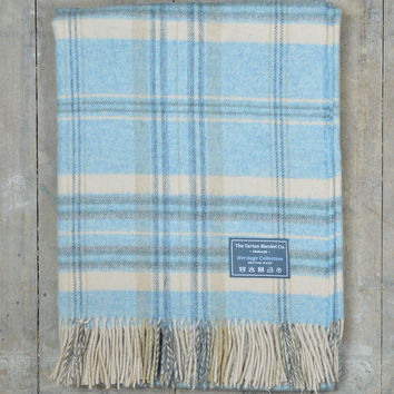 Heritage Merino Blanket in Blue and Cream Check