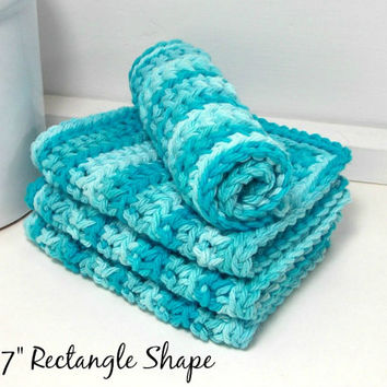 Hand Crochet Dishcloths, Eco Friendly Dishcloths, Turquoise Cloths, Knit Dishcloths, Set of 4