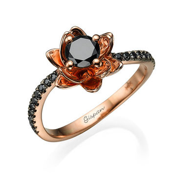 Flower Engagement Ring -14k Rose Gold With Black Diamonds, Flower Ring, Black diamond Ring, Diamond Ring, Wedding Ring, Promise Ring